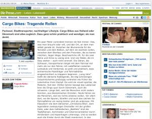 01.06.2011 - Die Presse.com: Cargo Bikes: Tragende Rollen