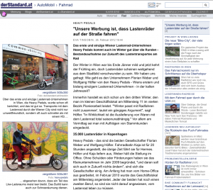26.02.2012 - derStandard.at: Unsere Werbung ist, dass Lastenräder auf der Straße fahren