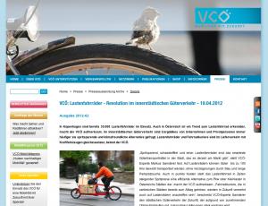 19.04.2012 - VCÖ: Lastenfahrräder - Revolution im innerstädtischen Güterverkehr