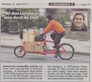 22.04.2012 - Kronen Zeitung: Mit dem Lastenesel leise durch die Stadt