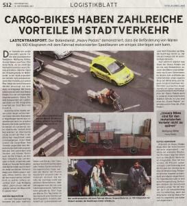 13.09.2012 – Logistikblatt: Cargo-bikes haben zahlreiche Vorteile im Stadtverkehr
