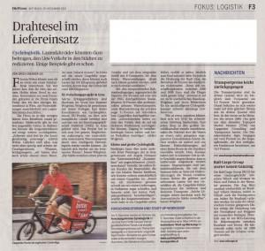 20.11.2013 - Die Presse: Drahtesel im Liefereinsatz20.11.2013 - Die Presse: Drahtesel im Liefereinsatz