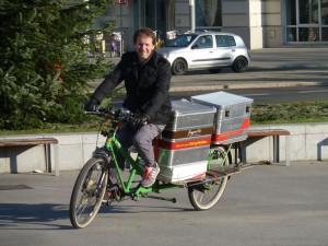 Gary Armstrong von Outspoken Delivery beim Cyclelogistics workshop in Wien, 05.12.2013