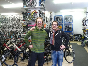 Wolfgang und Thomas im Velo Zürich im Shop