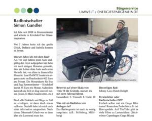 März 2016 – Gemeindenachrichten Kremsmünster: Radbotschafter Simon Gandler