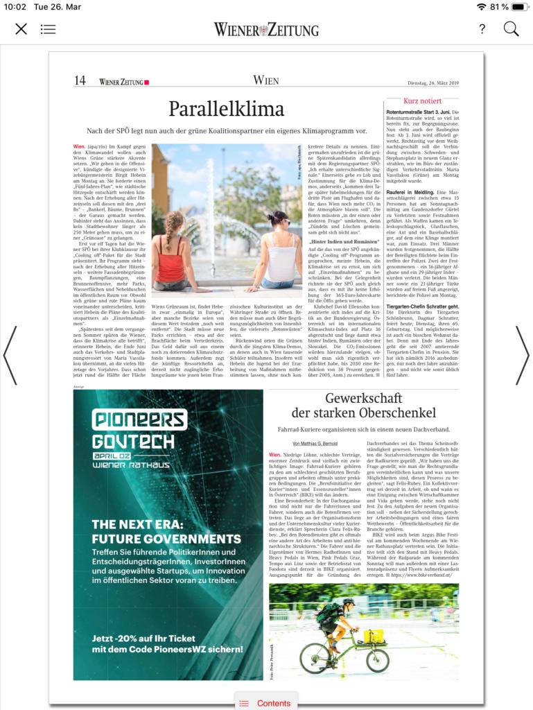 26.03.2019 – Wiener Zeitung: Gewerkschaft der starken Oberschenkel
