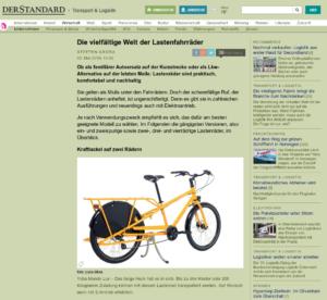 22.05.2019 – derStandard.at: Die vielfältige Welt der Lastenfahrräder