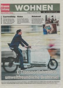 13.09.2019 – Kronen Zeitung: Wohnen & Lifestyle: E-Transportfahrräder - umweltfreundliche Drahtesel
