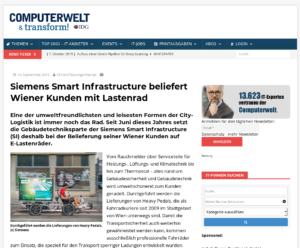 19.09.2019 – Computerwelt: Siemens Smart Infrastructure beliefert Wiener Kunden mit Lastenrad