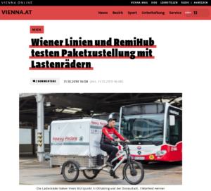 31.10.2019 – vienna.at: Wiener Linien und RemiHub testen Paketzustellung mit Lastenrädern