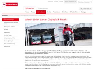 31.10.2019 – wienerlinien.at: Wiener Linien starten Citylogistik-Projekt