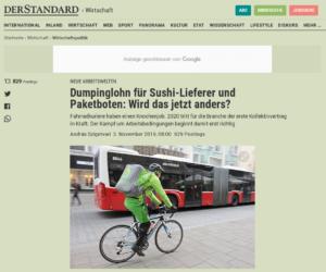 03.11.2019 – derStandard.at: Dumpinglohn für Sushi-Lieferer und Paketboten: Wird das jetzt anders?