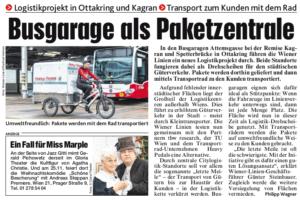 08.11.2019 – Kronen Zeitung:  Busgarage als Paketzentrale