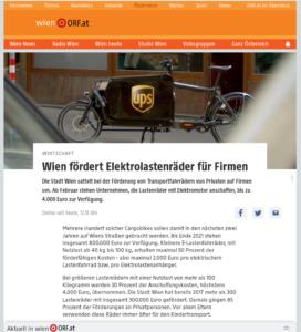 24.01.2020 – wien.orf.at: Wien fördert Elektrolastenräder für Firmen
