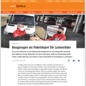 02.05.2020 – wien.orf.at: Busgaragen als Paketdepot für Lastenräder