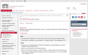 Screenshot: 30. StVo-Novelle auf parlament.gv.at