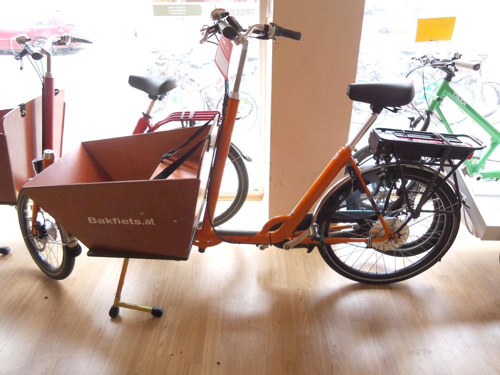 bakfiets lastenrad kurz 8 gang e motor orange. Black Bedroom Furniture Sets. Home Design Ideas