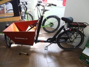 Bakfiets Lastenrad Kurz, 7-Gang, E-Motor, Matt Schwarz, Vorführrad