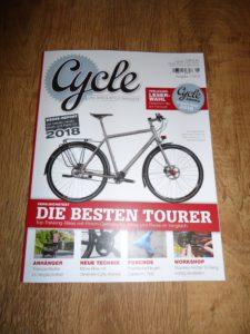 """""""Cycle – Das Bike & Style Magazin"""", Ausgabe 1-2018 mit Anhänger Test"""