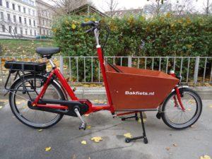 Bakfiets Lastenrad Kurz Classic Steps, 8-Gang, E-Motor, Rot, fabrikneu