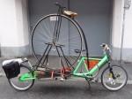 Ein Hochrad auf dem Weg zum Bezirksmuseum