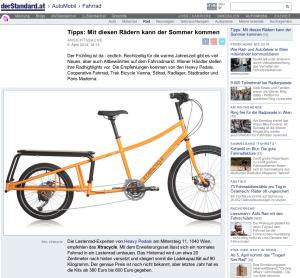09.04.2014 – derStandard.at: Tipps: Mit diesen Rädern kann der Sommer kommen