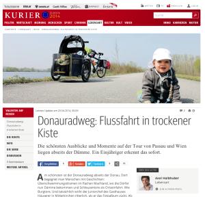 20.04.2014 – kurier.at: Donauradweg: Flussfahrt in trockener Kiste
