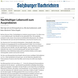 08.12.2014 – Salzburger Nachrichten: Nachhaltiger Lebensstil zum Ausprobieren