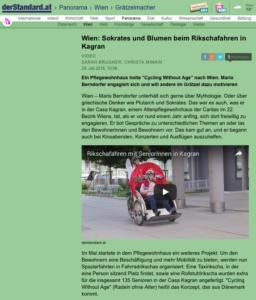 29.07.2016 - derStandard.at: Wien: Sokrates und Blumen beim Rikschafahren in Kagran