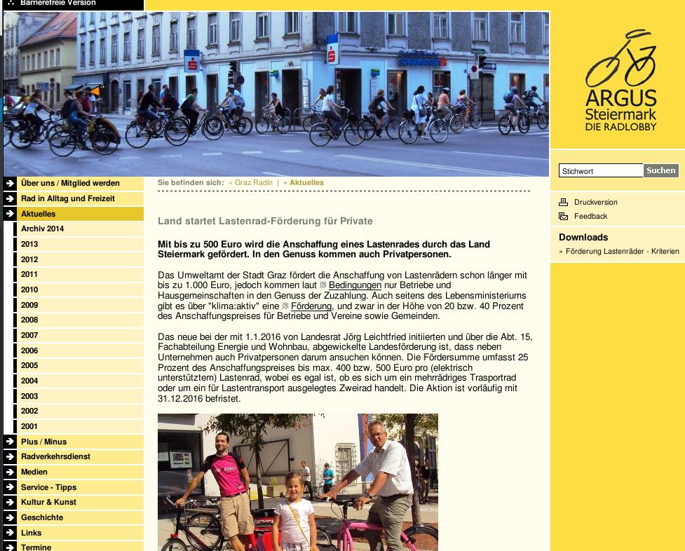Screenshot ARGUS Steiermark website