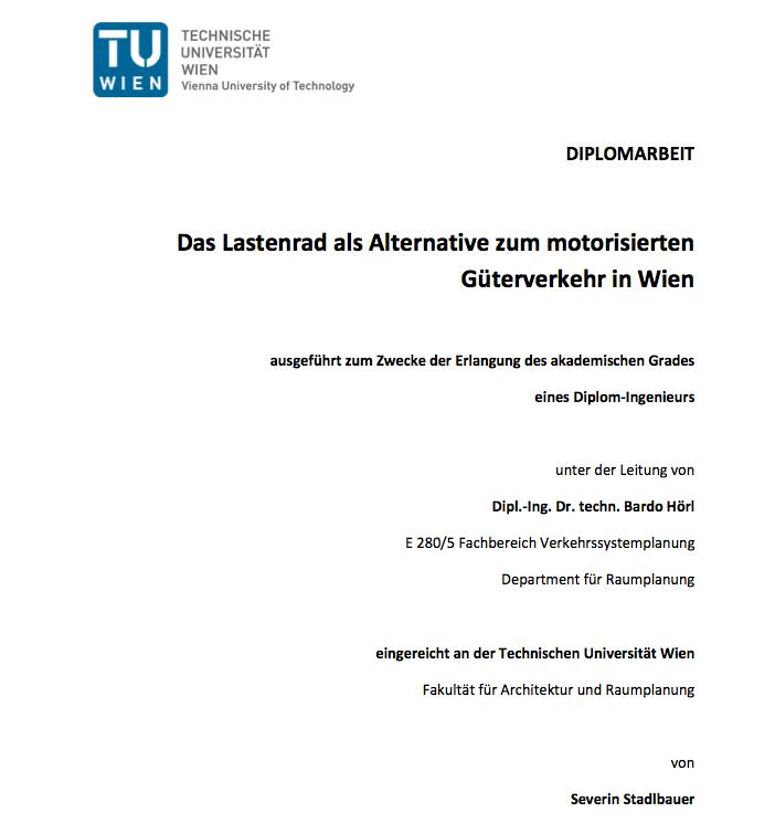 Diplomarbeit: Das Lastenrad als Alternative zum motorisierten Güterverkehr in Wien