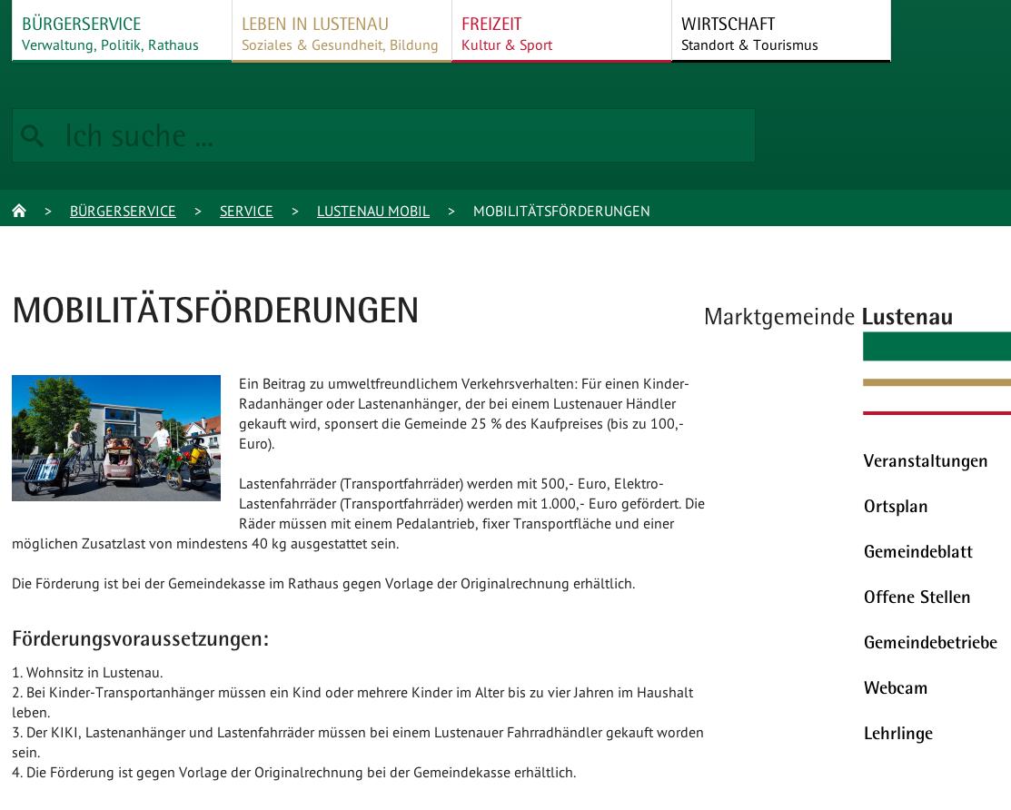 Mobilitätsförderung in Lustenau