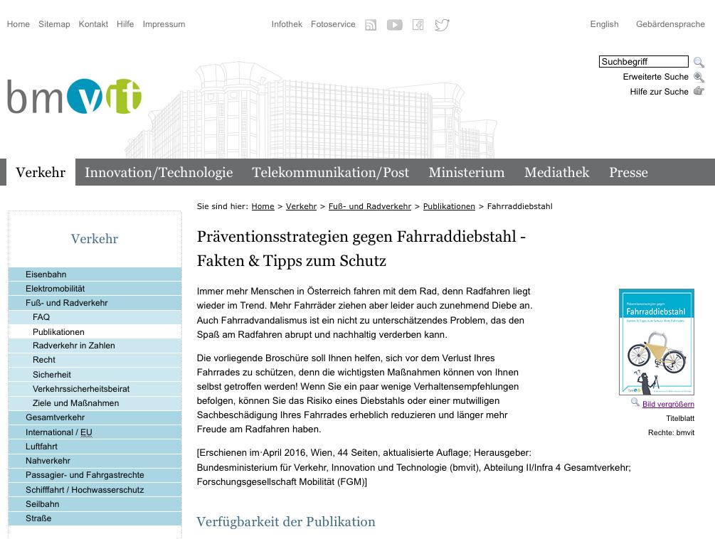 Screen Shot von http://www.bmvit.gv.at/verkehr/ohnemotor/publikationen/fahrraddiebstahl.html